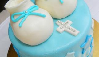 Baby bootsies baptismal cake